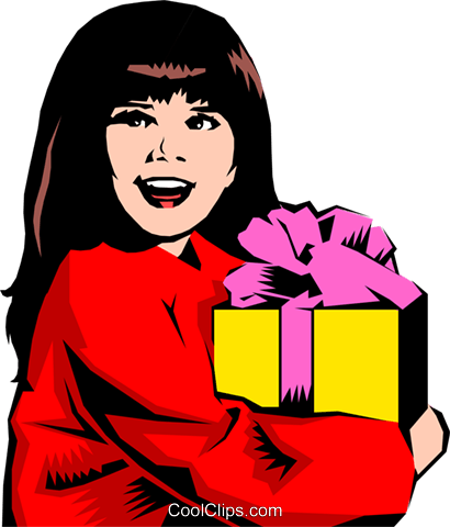 Little girl with gift Royalty Free Vector Clip Art illustration peop0843