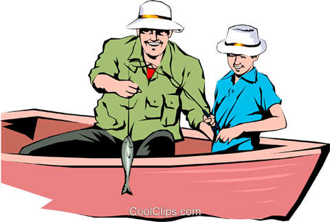 Father and son fishing Royalty Free Vector Clip Art illustration peop0846