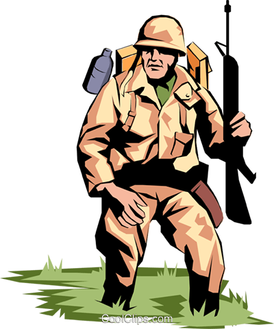 Military man Royalty Free Vector Clip Art illustration peop0851