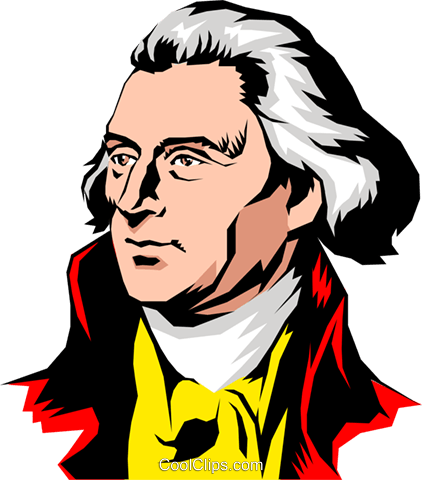 Thomas Jefferson Royalty Free Vector Clip Art illustration peop0866