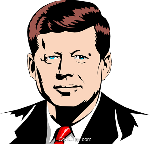 John F. Kennedy Royalty Free Vector Clip Art illustration peop0867