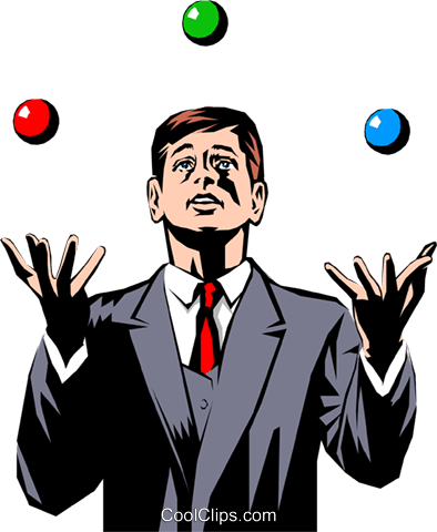 Businessman juggling balls Royalty Free Vector Clip Art illustration peop0882
