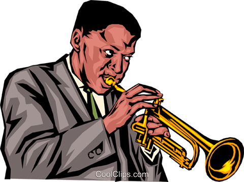 Trumpet player Royalty Free Vector Clip Art illustration peop0885
