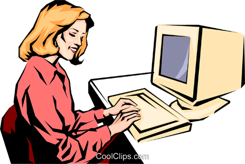 Woman working at computer Royalty Free Vector Clip Art illustration peop0928