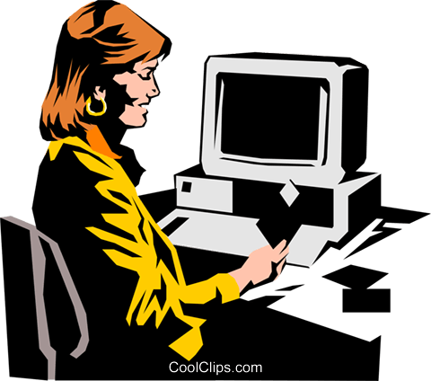 Woman working at computer Royalty Free Vector Clip Art illustration peop0929
