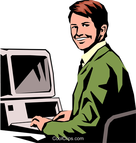 Student working on PC Royalty Free Vector Clip Art illustration peop0930