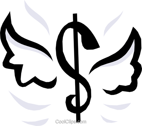 Dollar sign with wings Royalty Free Vector Clip Art illustration busi0656