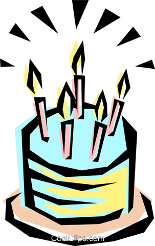 Cool birthday cake Royalty Free Vector Clip Art illustration even0032