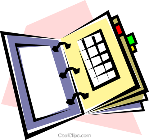 Appointment book Royalty Free Vector Clip Art illustration busi0163