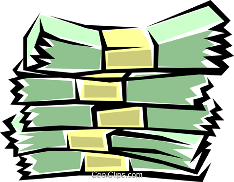Bundles of cash Royalty Free Vector Clip Art illustration busi0168