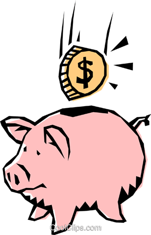 Cool piggy bank Royalty Free Vector Clip Art illustration busi0216
