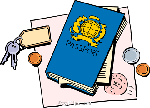 Passport with keys and change Royalty Free Vector Clip Art illustration busi0686