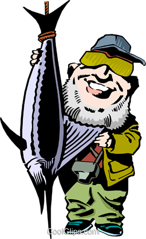 Cartoon fisherman Royalty Free Vector Clip Art illustration cart1224