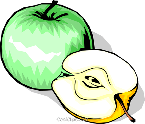Sliced Apple Royalty Free Vector Clip Art illustration food0564