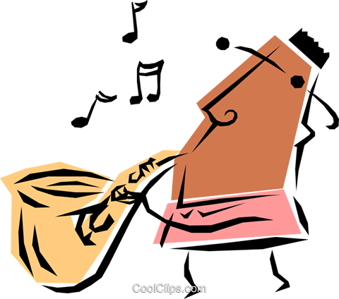 Cool saxophone player Royalty Free Vector Clip Art illustration peop1217