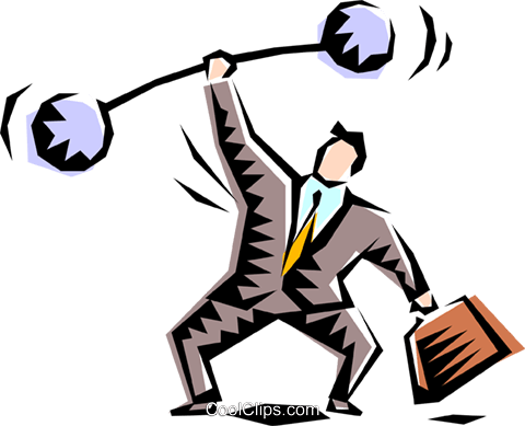 Cartoon executive weightlifter Royalty Free Vector Clip Art illustration peop1238