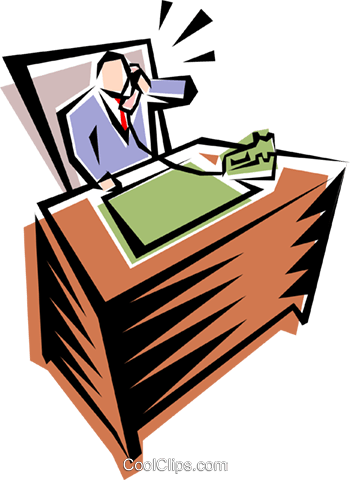 cartoon businessman on phone Royalty Free Vector Clip Art illustration peop1239