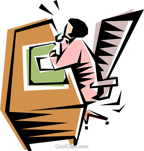 Cool woman at office desk Royalty Free Vector Clip Art illustration peop1241