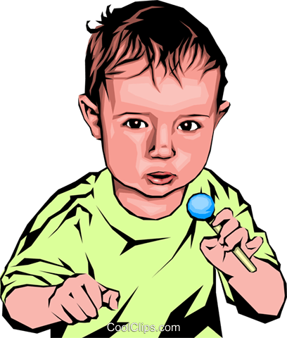 Baby with candy Royalty Free Vector Clip Art illustration peop1441