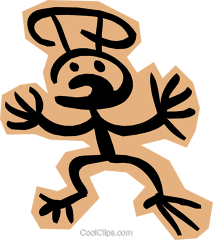 Stickman on brown shape Royalty Free Vector Clip Art illustration peop1454