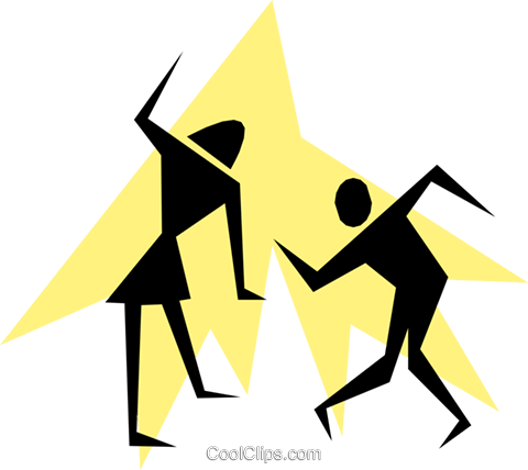 Silhouette Stick People Dancing Vektor Clipart Bild peop1455