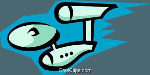 卡通飞船 免版税矢量剪贴画插图
