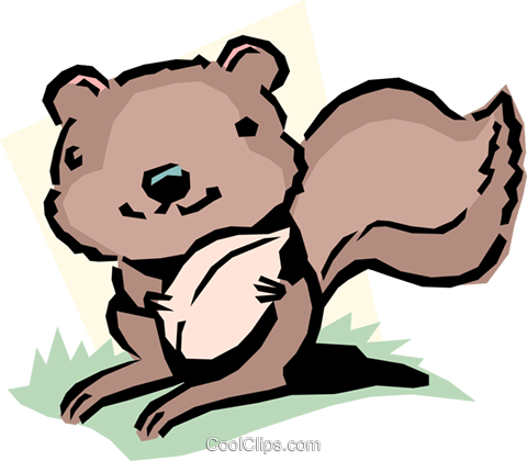 Cartoon squirrel Royalty Free Vector Clip Art illustration anim1075
