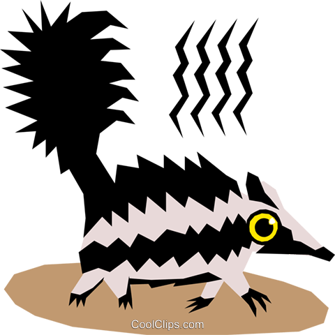 Skunks Royalty Free Vector Clip Art illustration anim1119