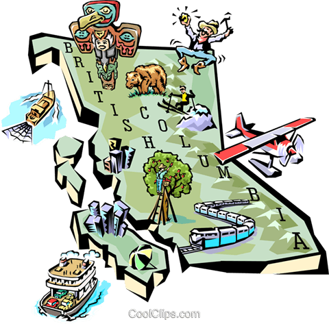 British Columbia map Royalty Free Vector Clip Art illustration worl0599
