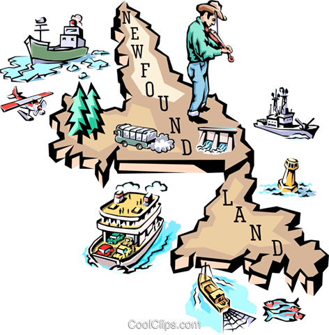 Newfoundland map Royalty Free Vector Clip Art illustration worl0603