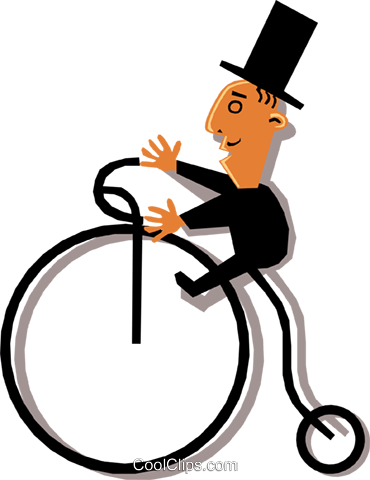 Man in a top hat riding a penny farthing Royalty Free Vector Clip Art illustration cart1338