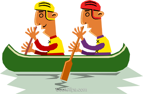 Canoeists Royalty Free Vector Clip Art illustration cart1347