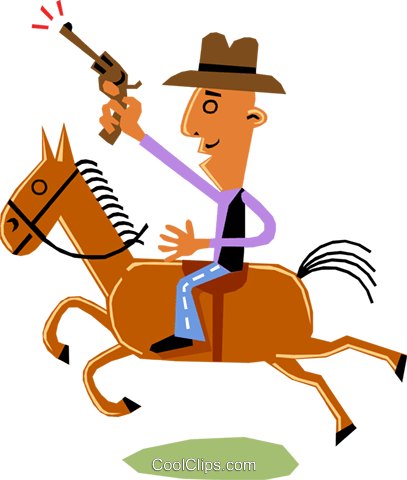 Man on horseback Royalty Free Vector Clip Art illustration cart1353