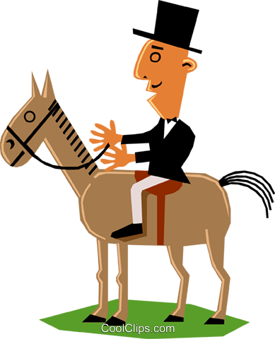 Man on horseback Royalty Free Vector Clip Art illustration cart1354