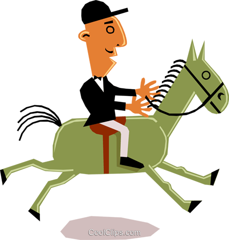 Man on horseback Royalty Free Vector Clip Art illustration cart1355