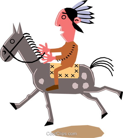 Man on horseback Royalty Free Vector Clip Art illustration cart1356