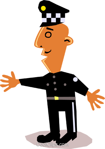 Funky Picasso Policeman Royalty Free Vector Clip Art illustration cart1368