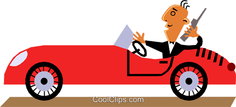 Funky Picasso man driving car Royalty Free Vector Clip Art illustration cart1369
