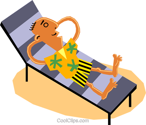 Funky Picassos man on vacation Royalty Free Vector Clip Art illustration cart1372