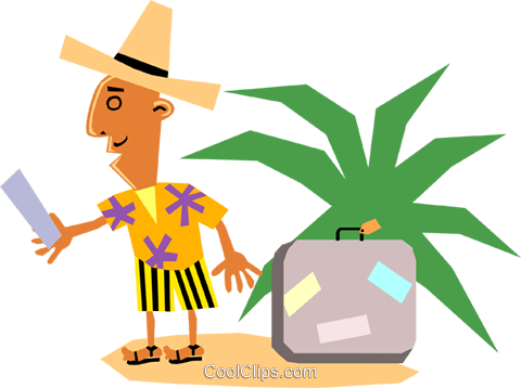 Funky Picasso man on vacation Royalty Free Vector Clip Art illustration cart1373