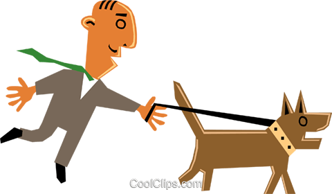 Funky Picasso taking his dog for a walk Royalty Free Vector Clip Art illustration cart1375