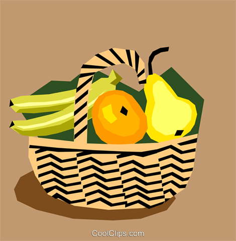Fruit basket Royalty Free Vector Clip Art illustration food0596