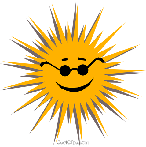 The Sun with sunglasses Royalty Free Vector Clip Art illustration natu0532