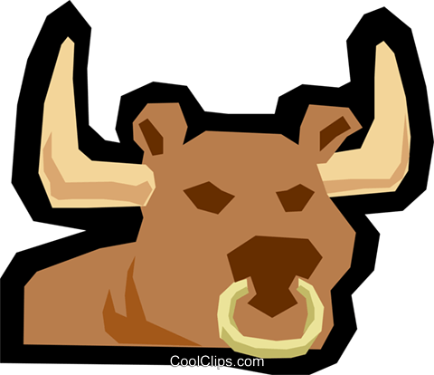 Bull Royalty Free Vector Clip Art illustration anim1175