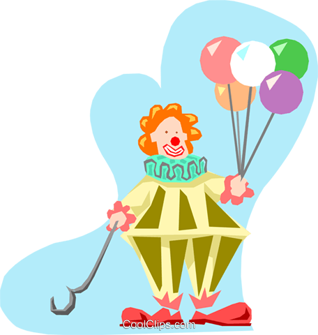 Clown with balloons Royalty Free Vector Clip Art illustration cart1243