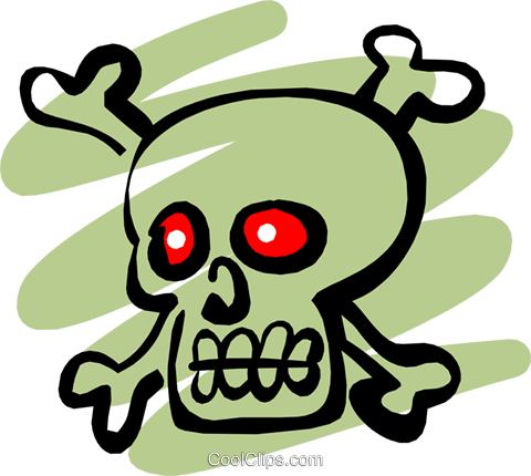 Pirate Skull & Crossbones Royalty Free Vector Clip Art illustration cart1249