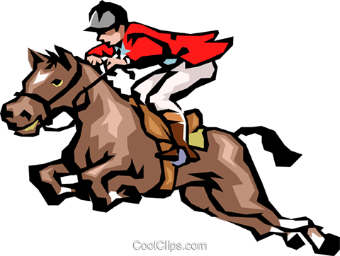 Horse jumping Royalty Free Vector Clip Art illustration peop1554