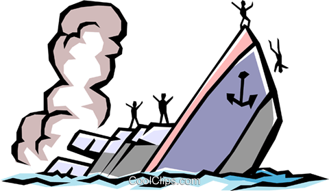 Sinking ship Royalty Free Vector Clip Art illustration tran0463