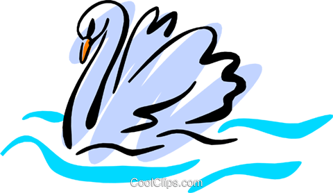 Swans Royalty Free Vector Clip Art illustration anim1228