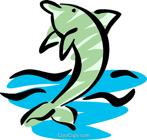 Cool dolphin Royalty Free Vector Clip Art illustration anim1265